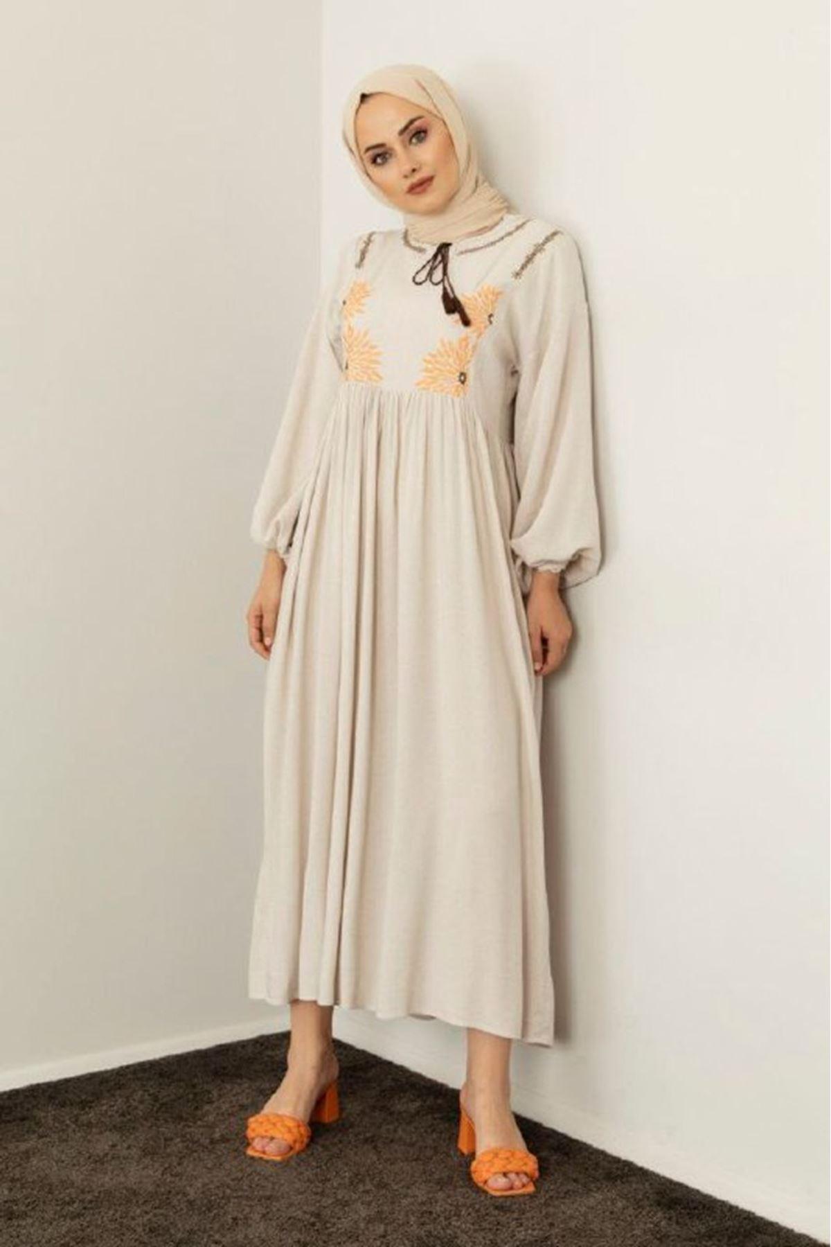 Kadın Desenli Keten Elbise
