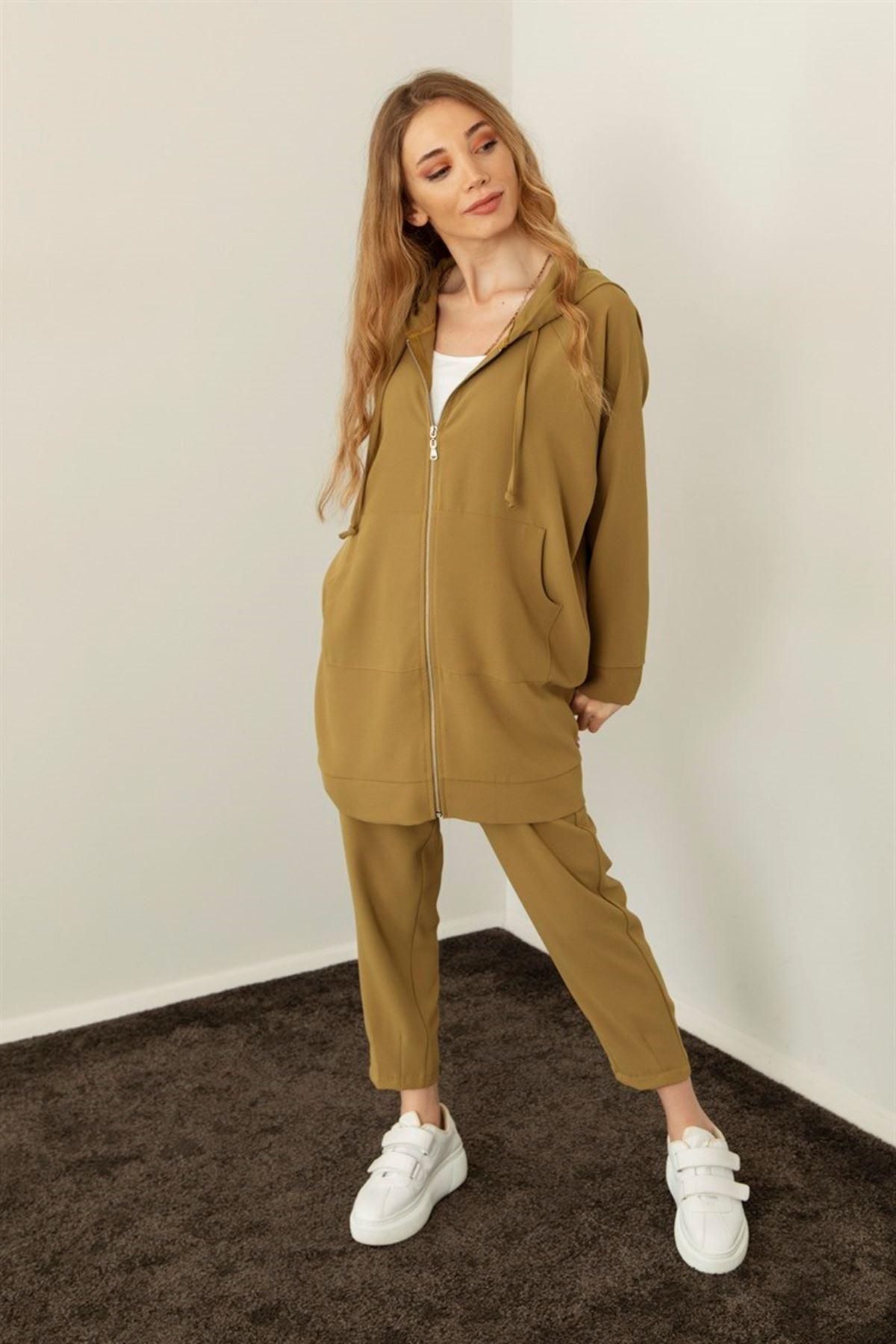 Kadın Pantolonlu Takım-yağyeşili
