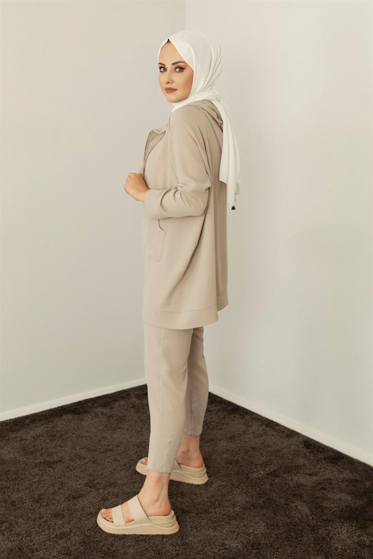 Kadın Pantolonlu Takım-bej