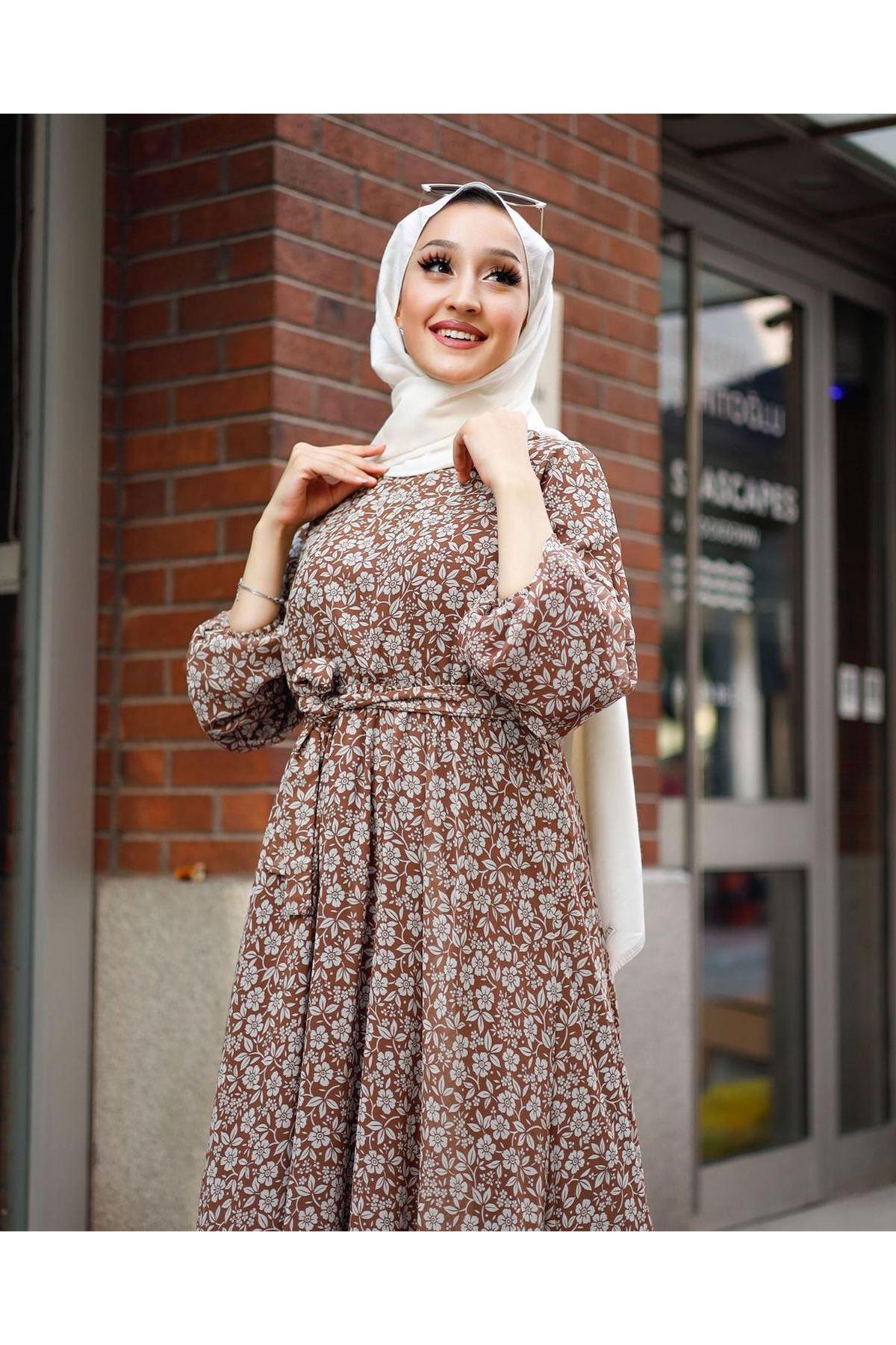 Kadın Çiçek Desenli Elbise-taba