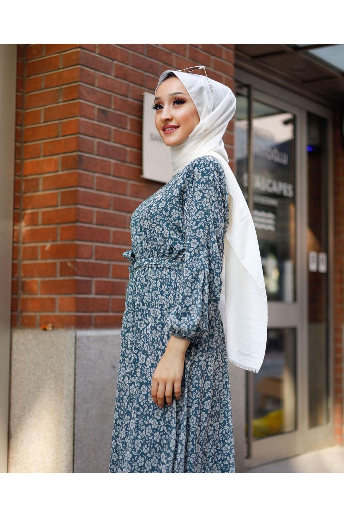 Kadın Çiçek Desenli Elbise-mintyeşili