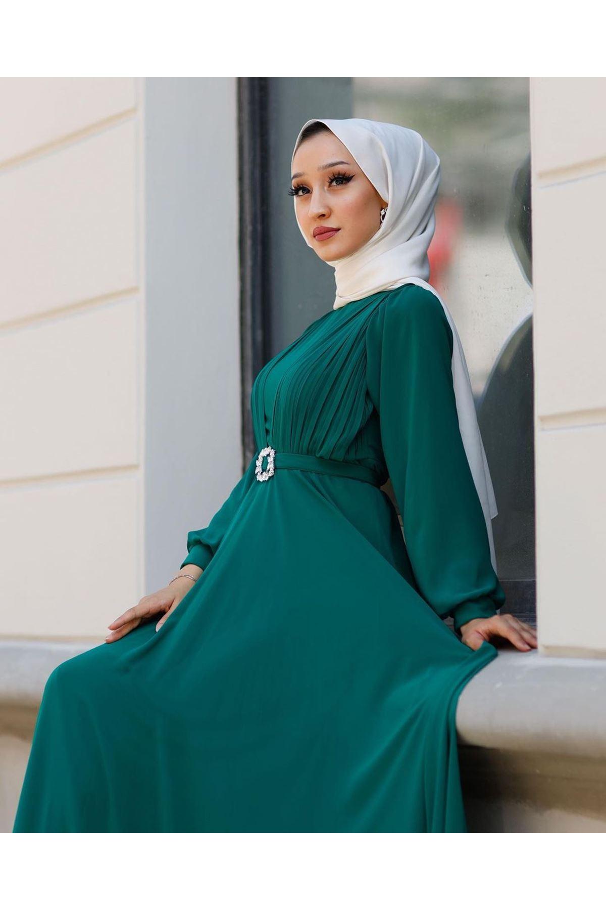 Kadın Kemeri Taşlı Elbise-yeşil