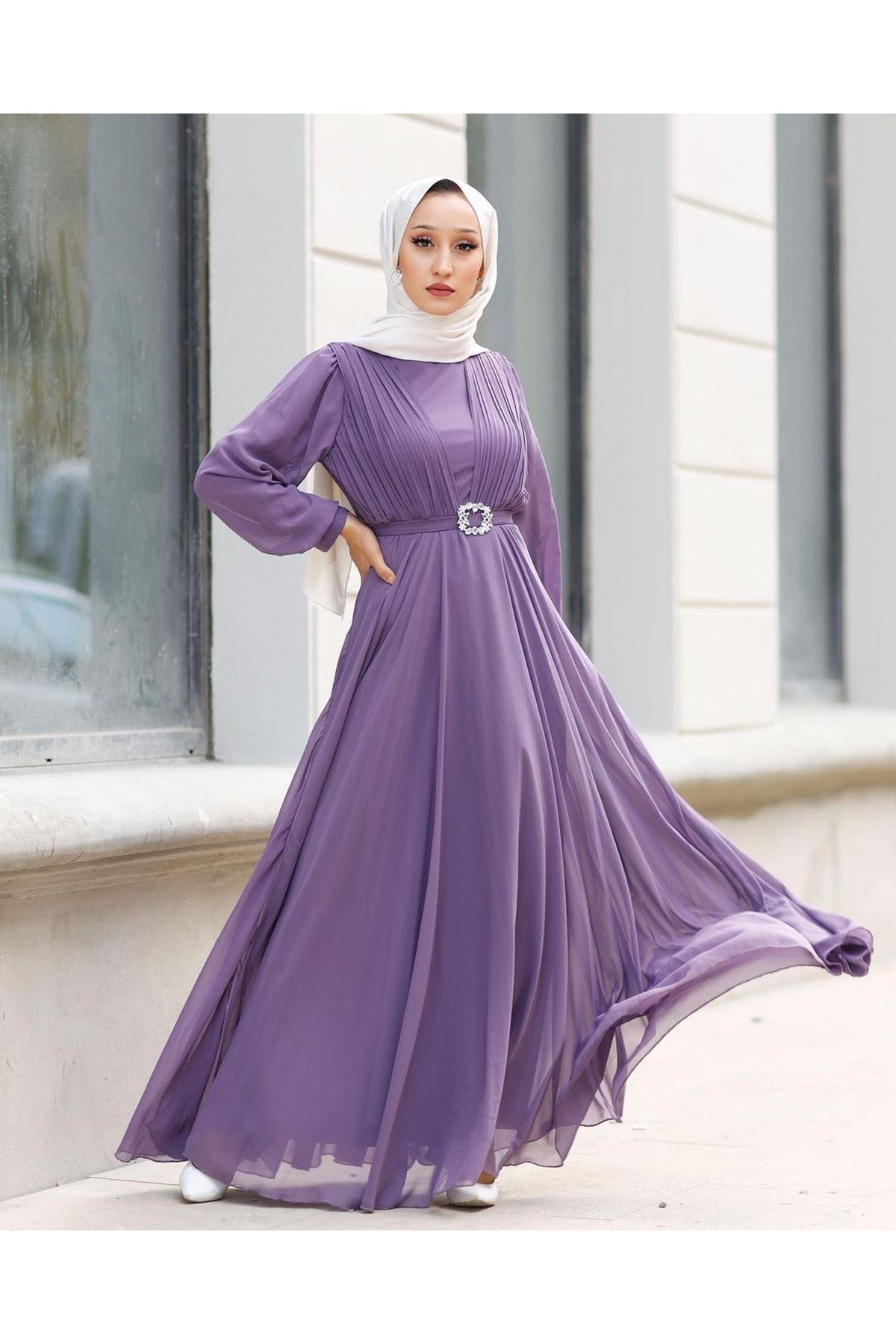 Kadın Kemeri Taşlı Elbise-lila