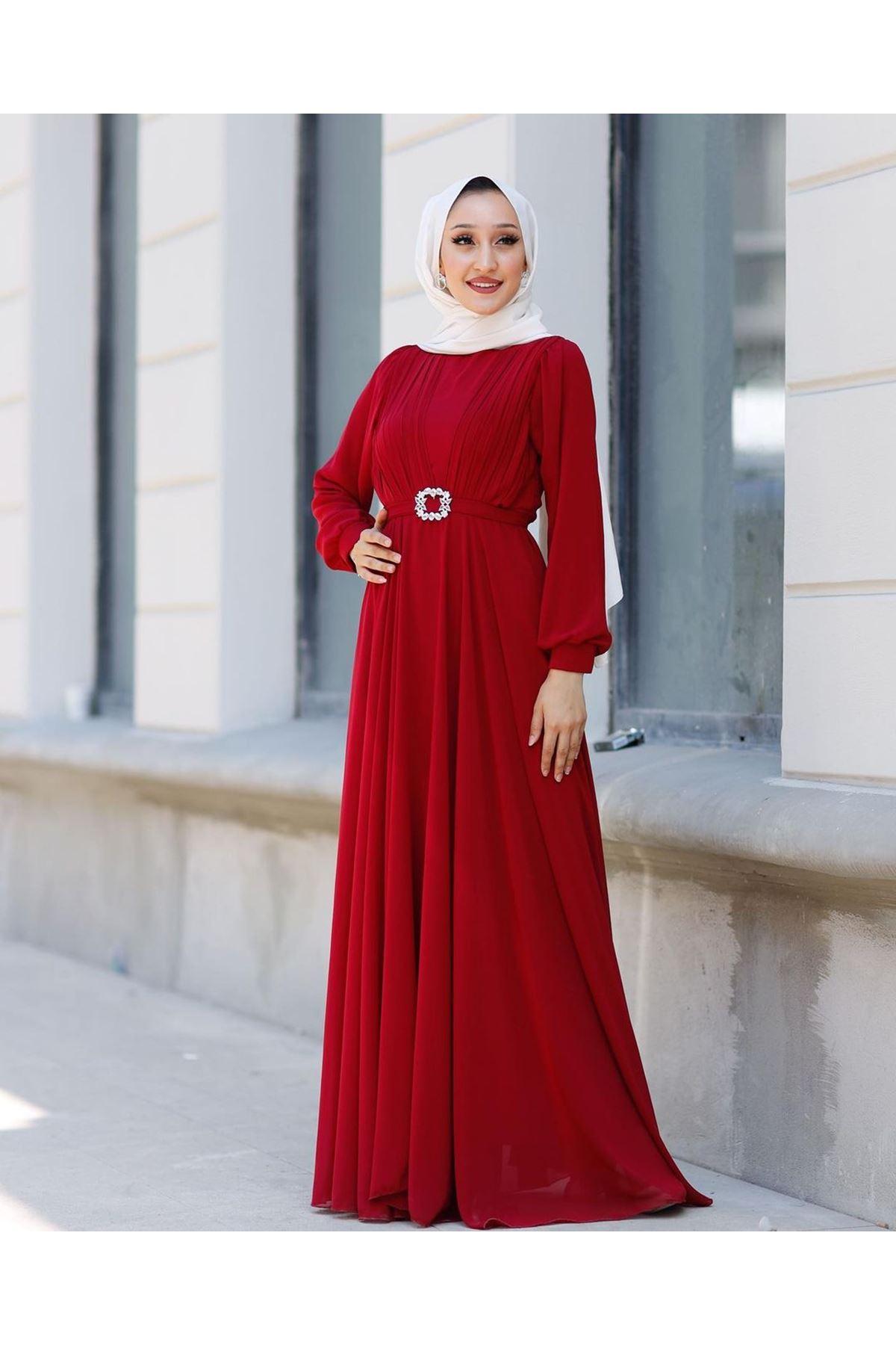 Kadın Kemeri Taşlı Elbise-kırmızı