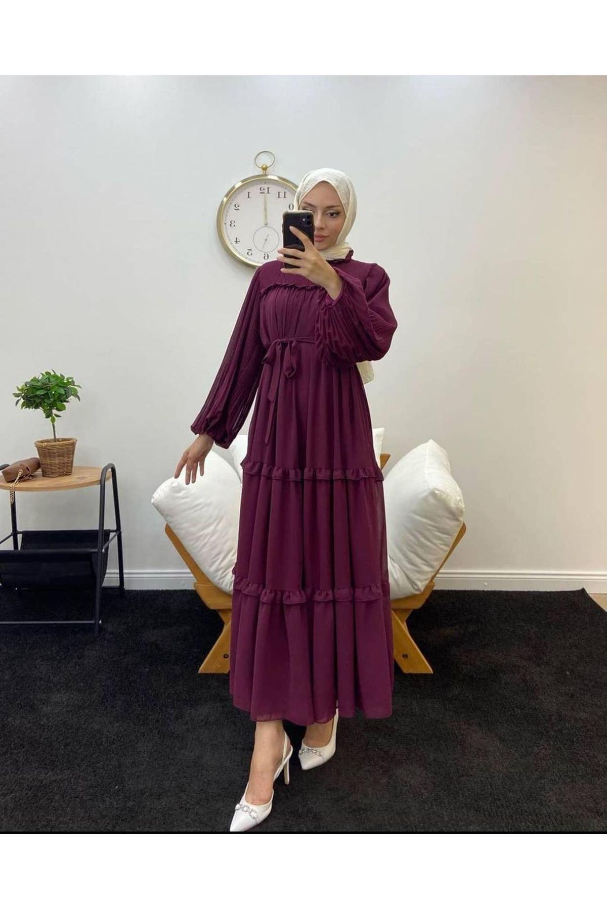 Kadın  Robalı Elbise-Bordo