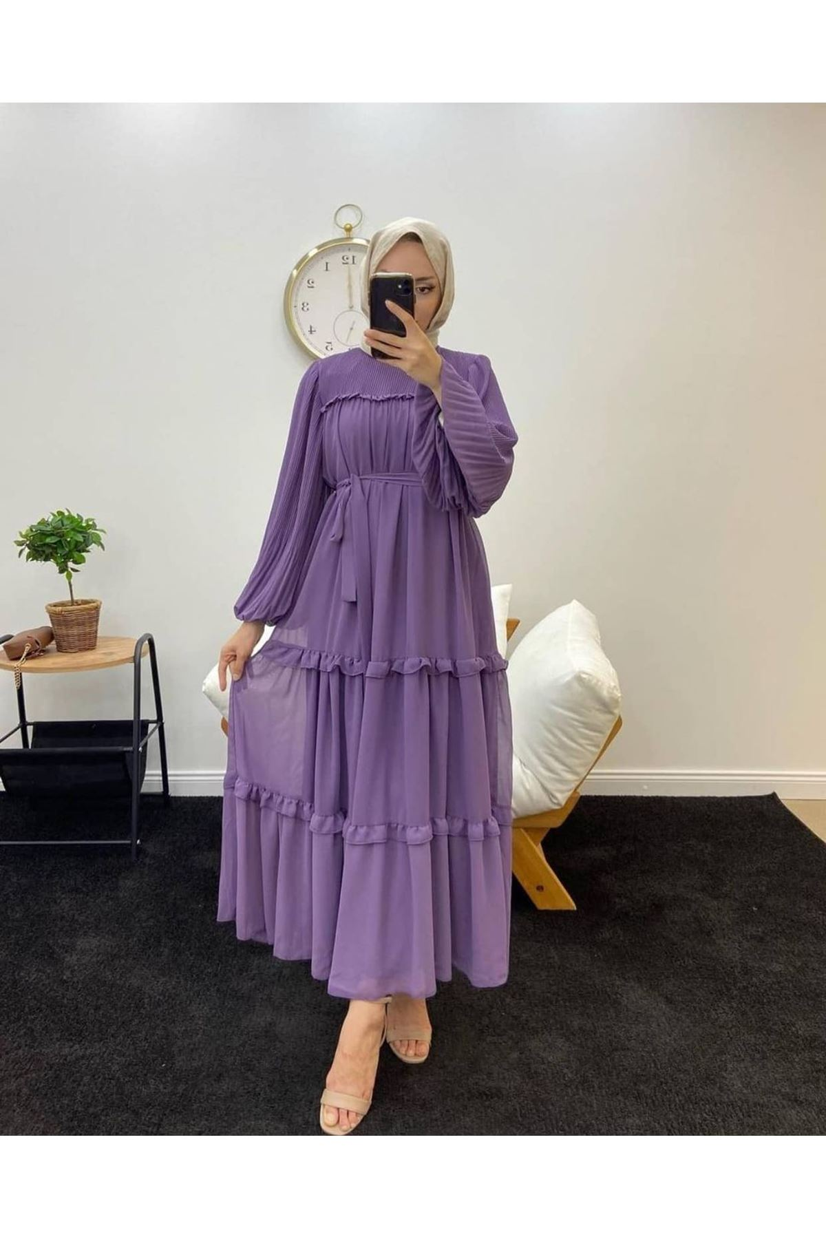 Kadın Robalı Elbise-Lila