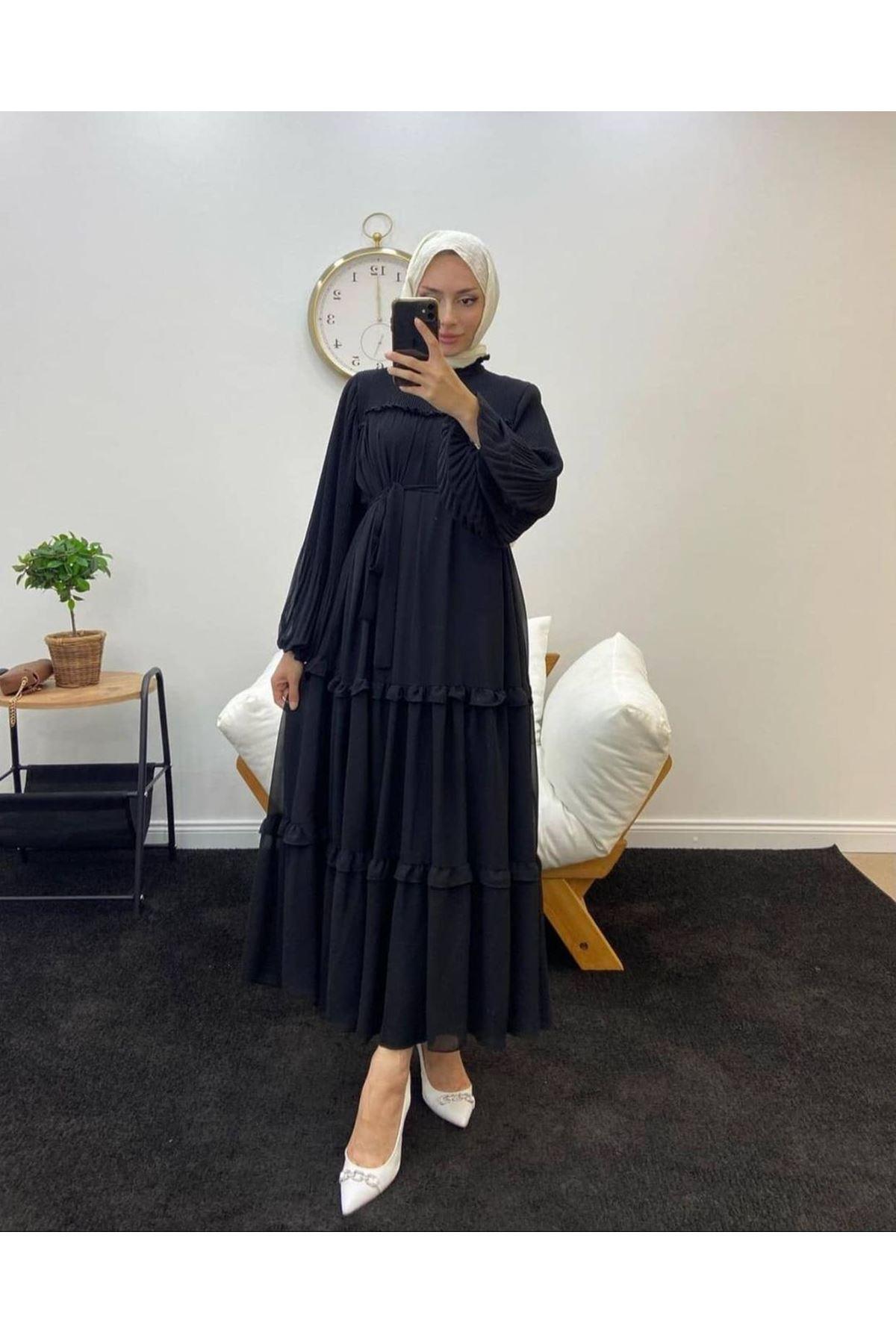 Kadın robalı Elbise-siyah