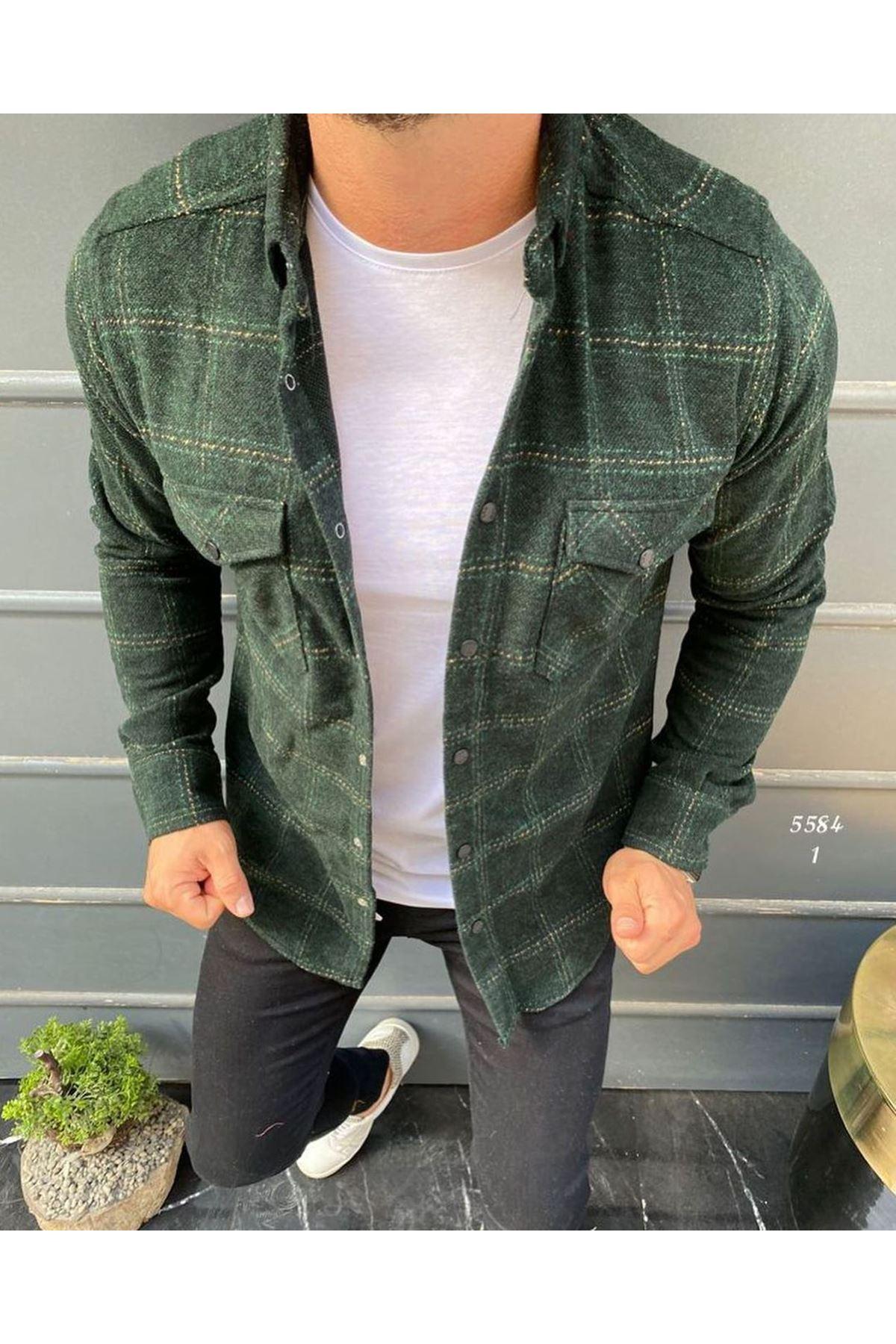 Ekose Oduncu Gömlek-yeşil
