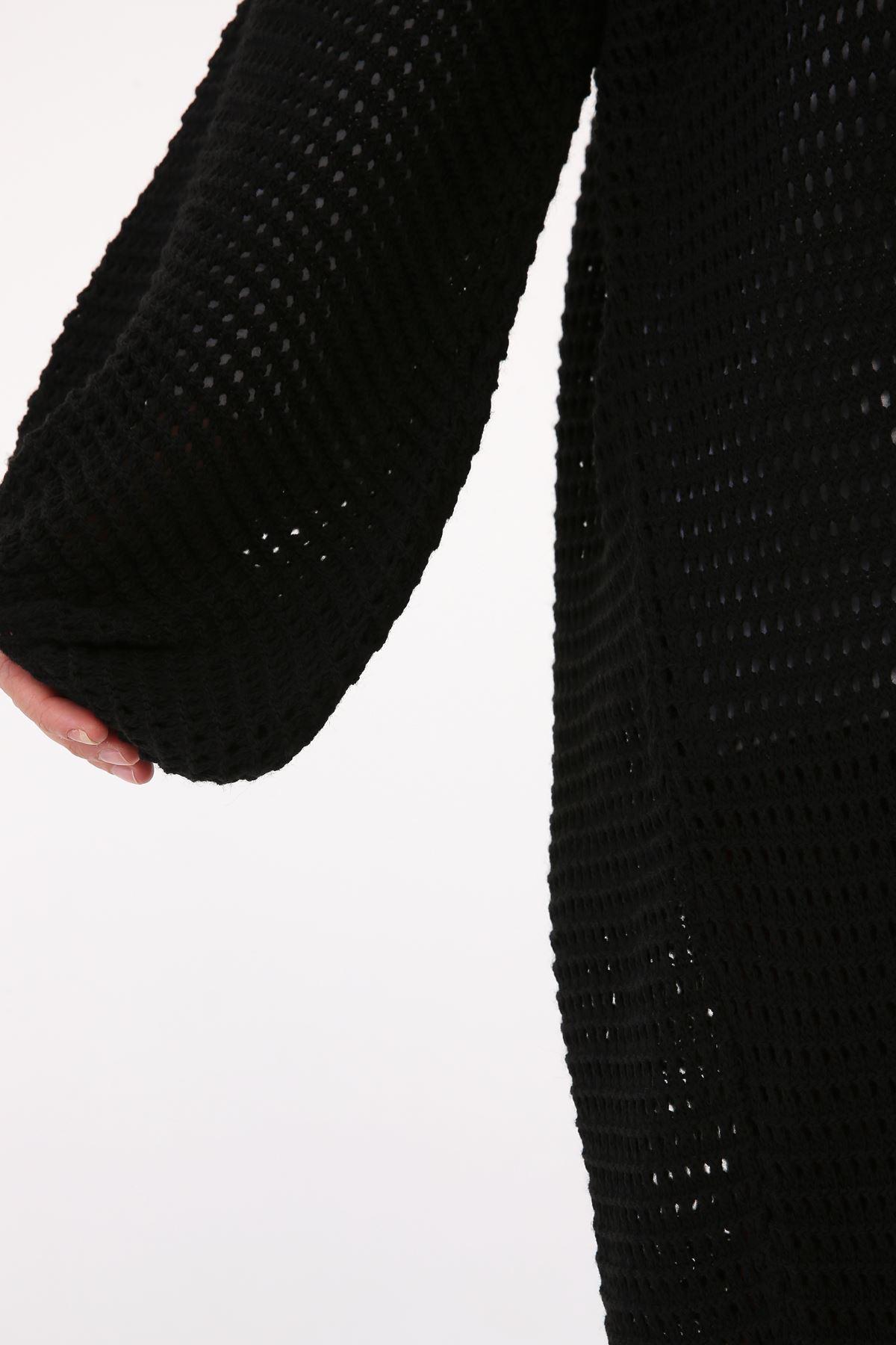Delik Örgülü Triko  Kadın Hırka-siyah