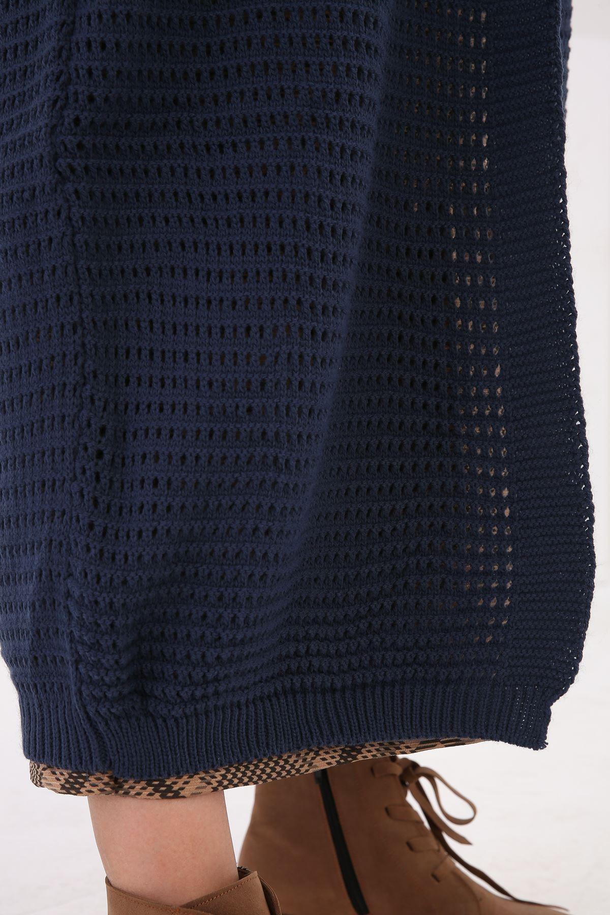 Delik Örgülü Triko kadın hırka-indigo
