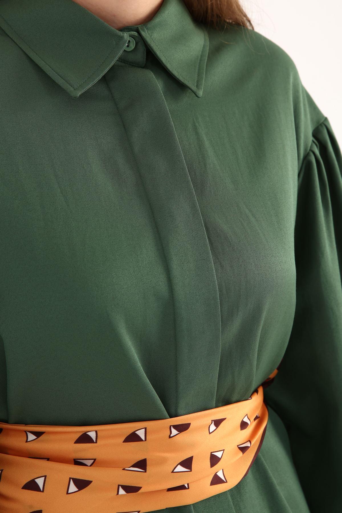 Kolları Pileli Önü Düğmeli Rahat Kalıp kadın Gömlek Tunik-yeşil