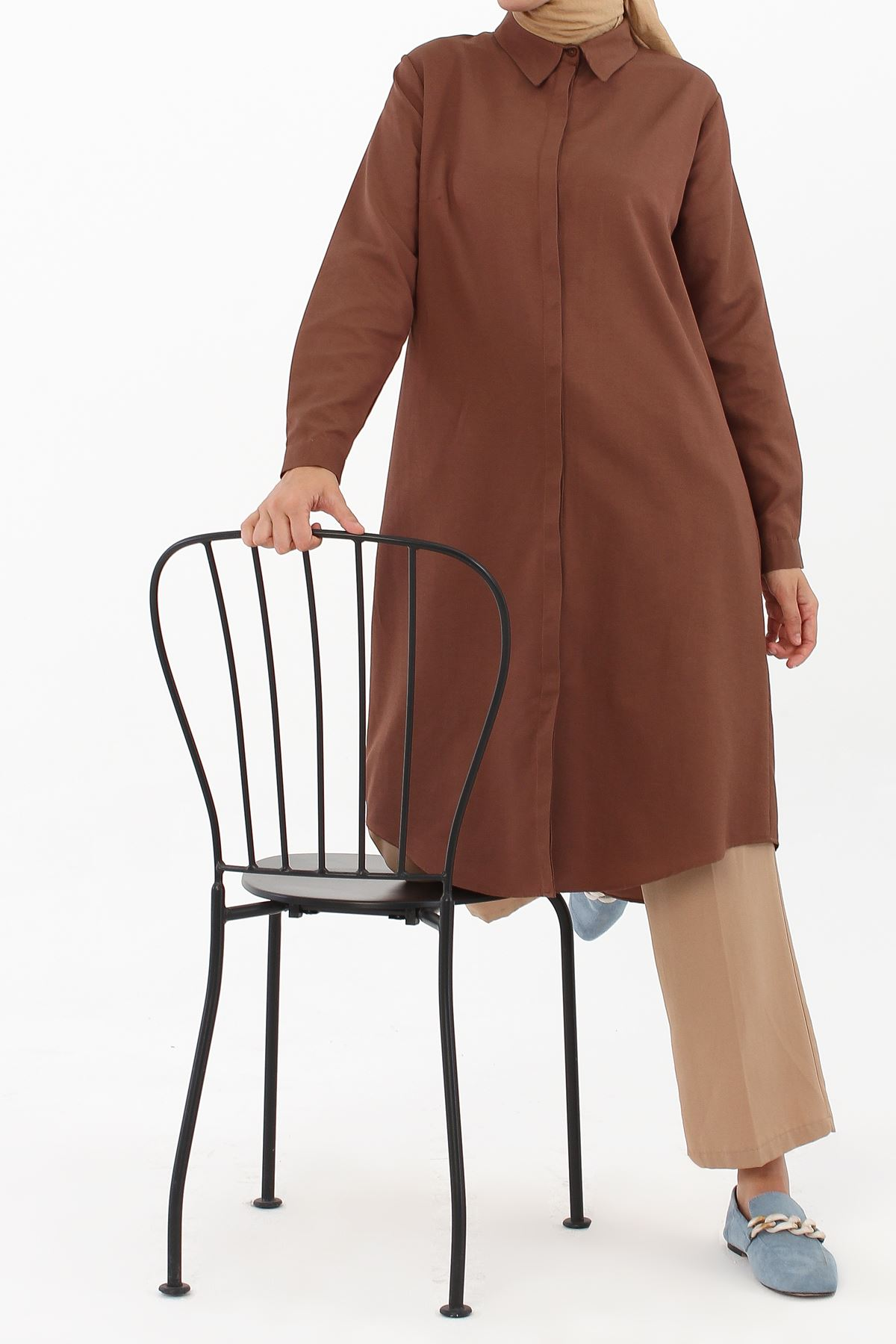 Gizli Patlı kadın Gömlek Tunik-kahve