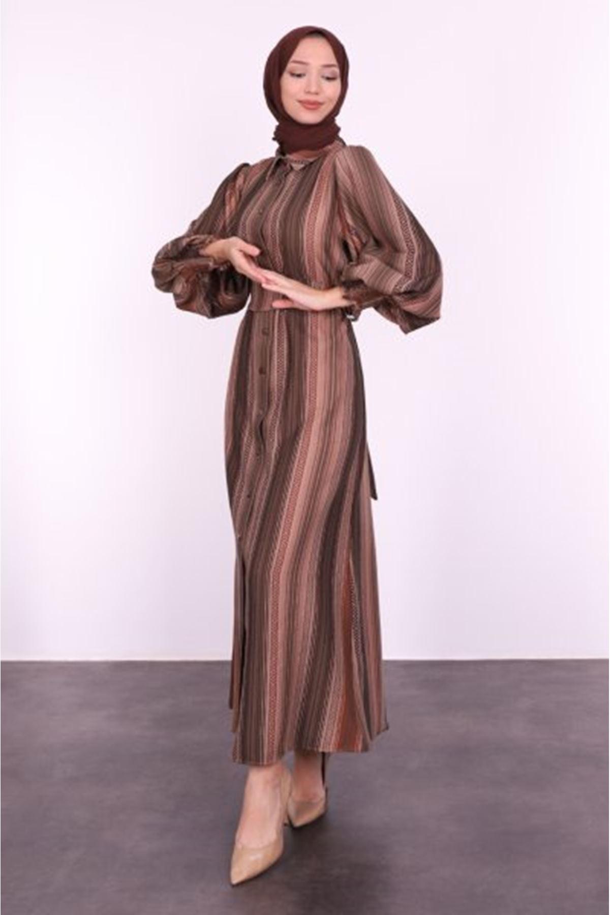 Şerit Desenli Balon Kol Tesettür Elbise-haki