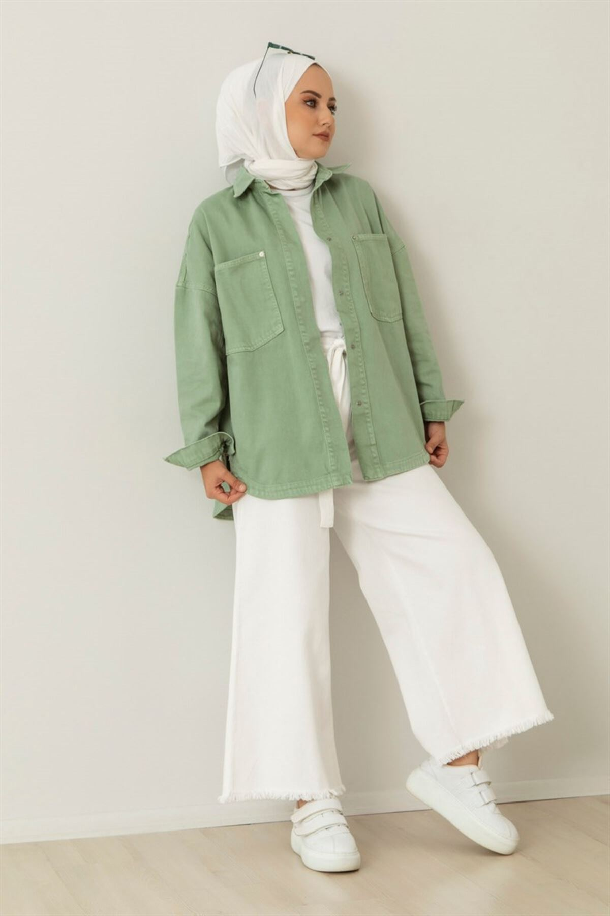 Oversize Çıt Çıt Düğmeli Çağla Ceket-mint yeşili