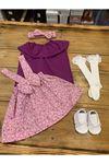 Baby Tuğra Bebek Çiçekli Üçlü Salopet Takım - Pembe