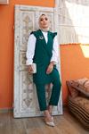 Kadın Omur Fırfır Detaylı Yelek Takım-yeşil